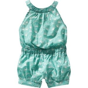 Old Navy turquoise seashell lace back romper new